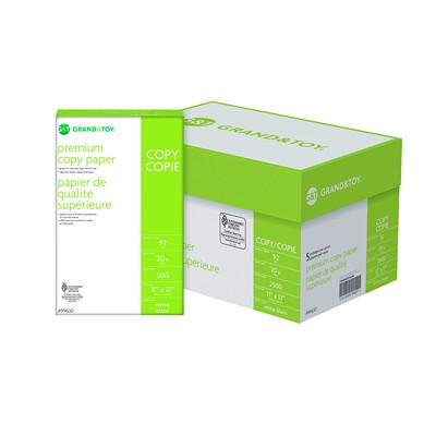 "Grand & Toy Premium Copy Paper, White, Tabloid-Size (11"" x 17""), SFI Certified, 20 lb., Ream  ACID FREE LASER COMPATIBLE ANTI STATIC 500/PK  92 BRIGHT"