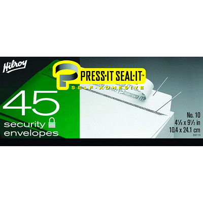 Hilroy Press-It Seal-It Security Envelopes  #10 SECURITY  45 CT 4-1/8 X 9-1/2