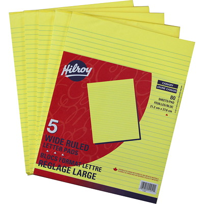 "Hilroy Canary Figuring Pads 80 SHT  CANARY NEWSPRINT 5/16"" WIDE RULE  MADE IN CANADA"