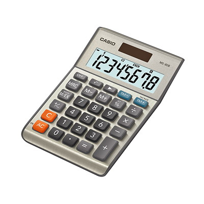Calculatrice de bureau MS-80B Casio 8 DIGIT  LARGE LCD DISPLAY TAX AND CURRENCY