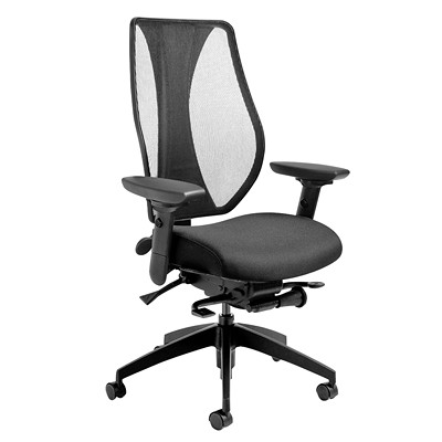 ergoCentric tCentric Hybrid Mesh Back Executive Synchro Glide Chair BLK FABRIC SEAT