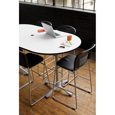 "Safco Cha-Cha Bistro-Height Racetrack Table, Designer White, 72"" x 36"" x 42""  DESIGNER WH RACETRACK TABLETOP COMES SET OF 2 BOXES"