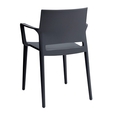 Global Bakhita Stacking Chair, With Armrests, Charcoal POLYMER INDOOR / OUTDOOR CHAIR CHARCOAL