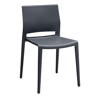 Global Bakhita Stacking Chair, Charcoal POLYMER INDOOR / OUTDOOR CHAIR CHARCOAL