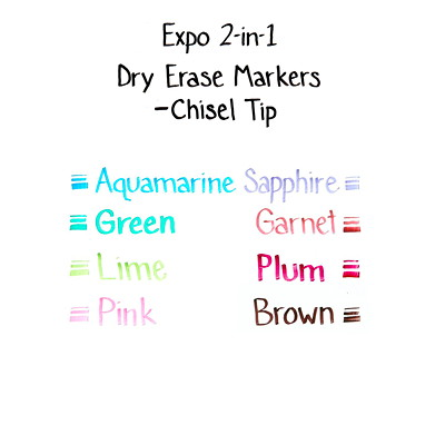 Expo 2-in-1 Dry-Erase Markers, Chisel-Tip CHISEL LOW ODOR