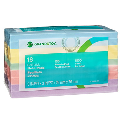 """Grand & Toy 3"""" x 3"""" Self-Stick Notes in Pastel Colours REPLACED 97032"""