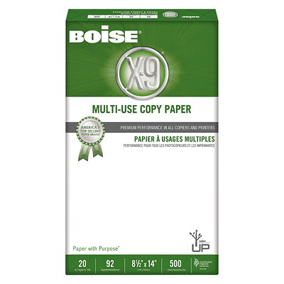 "Boise X-9 Multi-Use Copy Paper, 20 lb., White, Legal-size (8 1/2"" x 14""), Ream X9000 ACID FREE LASER COMPATIBLE ANTI-STATIC 92 BR."
