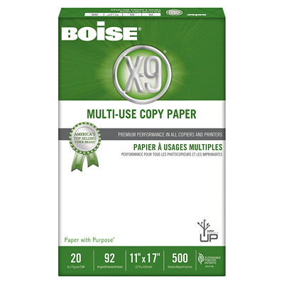 "Boise X-9 Multi-Use Copy Paper, 20 lb., White, Tabloid-size (11"" x 17""), Ream 92 BRIGHT  20LB"