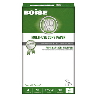 "Boise X-9 Multi-Use Copy Paper, FSC Certified, 20 lb., White, Legal-size (8 1/2"" x 14""), Ream FSC CERTIFIED 500 SHEETS  10 REAMS PER CTN"