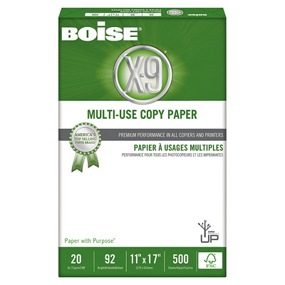 "Boise X-9 Multi-Use Copy Paper, FSC Certified, 20 lb., 11"" x 17"", Ream FSC CERTIFIED 500 SHEETS  5 REAMS PER CTN"