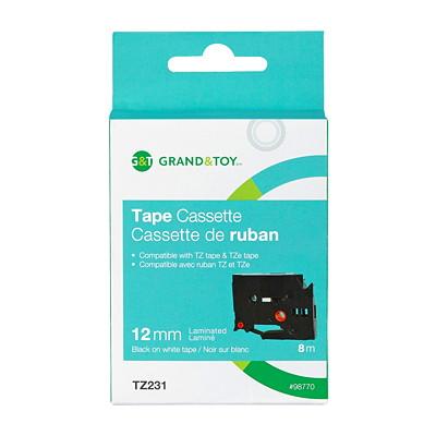 "Grand & Toy Sign TZe Black Type On White Label Tape Cassette, 12 mm (1/2"") x 8 m"