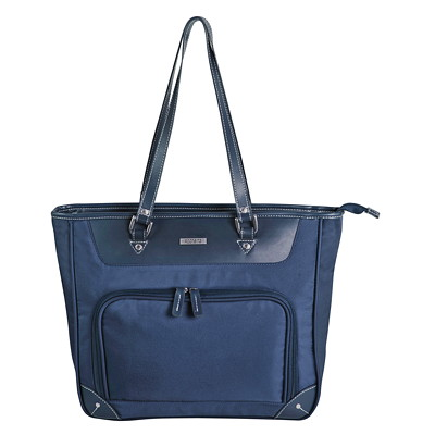 Roots Computer Business Tote LARGE FRONT POCKET NAVY