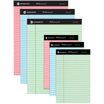 """Grand & Toy Professional Recycled Legal Pads, Assorted Colours, 5"""" x 8"""", 6/PK PERF  NARROW RULE  6/PK GREEN  PINK AND BLUE"""