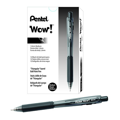 Pentel WOW! Retractable Ballpoint Black Pen, Medium 1.0 mm MEDIUM