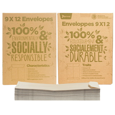 Norma Natural Sugar Cane Envelopes  MADE FROM 100% SUGARCANE UNBLEACHED