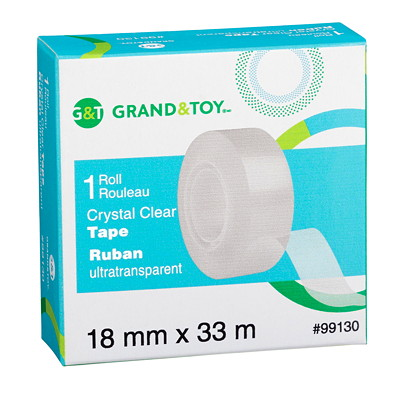 Grand & Toy Tape Refill, Crystal Clear, 18 mm x 33 m 33M LONG