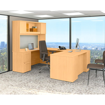 Bush 300 Series Executive U-Shaped Desk with Tall Storage  W/TALL STORAGE MOCHA CHERRY