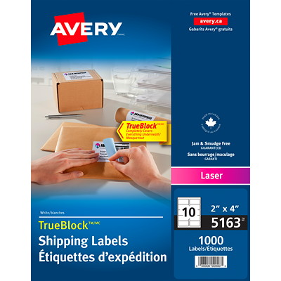 Avery White Shipping Labels with TrueBlock Technology  10 PER SHEET AVERY 1000 LABELS/BX