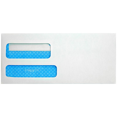 Enveloppes en vélin blanc à deux fenêtres pour relevés et factures Quality Park 3-7/8X8-7/8 PO AUTO-ADHÉSIVES BLANCHES  500/BTE