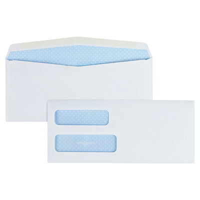 Quality Park Double-Window White Wove Invoice and Statement Envelopes 24 LB SFI DOUBLE WINDOW GUM FLAP - SECURITY TINT