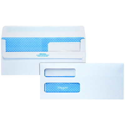 Quality Park Double-Window White Wove Invoice and Statement Envelopes 24 LB SFI DOUBLE WINDOW REDI-SEAL CLOSURE