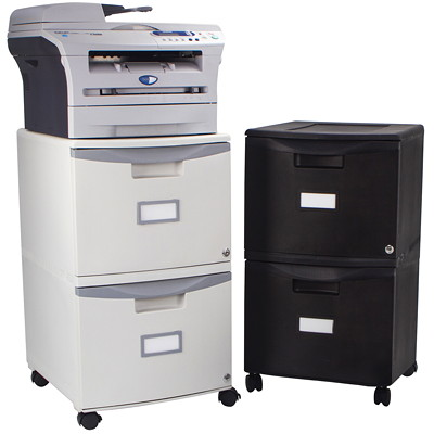 Storex 2-Drawer Mobile Grey Vertical File, Grey PUDDY WITH GREY HANDLES