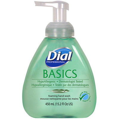 Dial Professional Basics Hypoallergenic Foaming Hand Wash PUMP 15.2OZ GREEN SEAL CERTIFIED