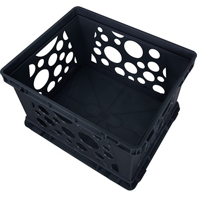 Storex 42 L Premium Letter- and Legal-Size Black File Crate 100% PCW 14.5W X17.25D X10.5H