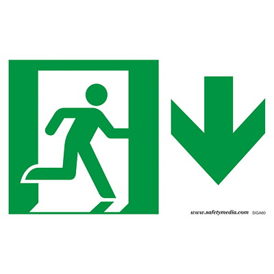 Safety Media Running Man Photoluminescent (Glow-In-The-Dark) Exit Sign PHOTOELUMINESCENT-DOESN'T REQU ELECTRICAL POWER BUT USES LIGH