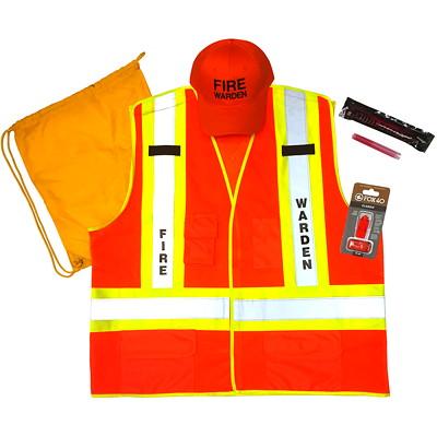 Safety Media Fire Warden Kit, L/XL KIT CONTAINS VEST  HAT  GLOW STICKS  FLASHLIGHT  WHISTLE  B