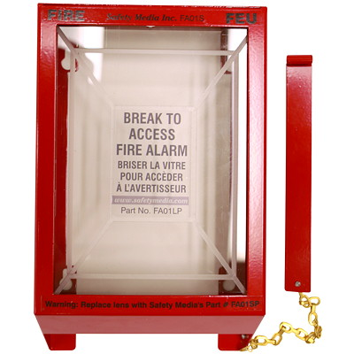 Safety Media Fire Alarm Pull-Station Cover  METAL FRAME WITH PLATIC LENS PUNCH OUT HAMMER & HARDWARE