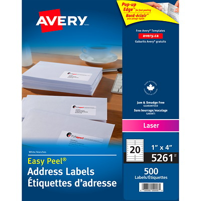 "Avery 5261 Easy Peel Address Labels, White, 1"" x 4"", 20 Labels/Sheet, 25 Sheets/PK PERM. POP-UP EDGE  WHITE 4""X1""  500 LBLS/PKG LASER"