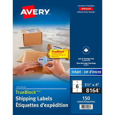 "Avery Shipping Labels with TrueBlock Technology, White, 3 1/3"" x 4"", 6 Labels/Sheet, 25 Sheets/PK WHITE 150 LABELS/PK 6 LABELS PER SHT AVERY"