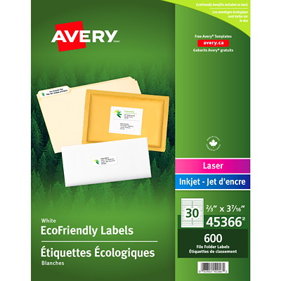 "Avery 45366 EcoFriendly File Folder Labels, White, 2/3"" x 3 7/16"", 20 Labels/Sheet, 20 Sheets/PK  3-7/16X2/3 30LBLS/SHT 20SHT/PK 600/PK INKJET & LASER COMPAT."