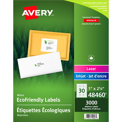 "Avery EcoFriendly White Address and Shipping Labels 1""X2-5/8"" 30/SHT  100SHTS/BX 3000/BX INKJET & LASER COMPAT."