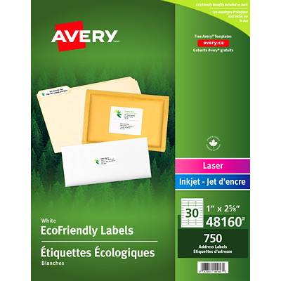 "Avery 48160 EcoFriendly Address and Shipping Labels, White, 1"" x 2 5/8"", 30 Labels/Sheet, 25 Sheets/PK 1X2-5/8  30LBLS/SHT  25SHT/PK 750/PK INKJET & LASER COMPAT."