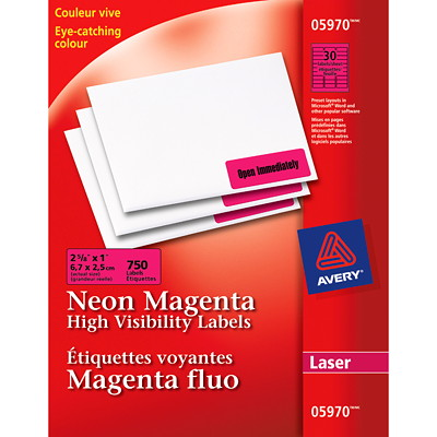 "Avery High-Visibility Rectangular Laser Labels, Neon Magenta, 2 5/8"" x 1"", 30 Labels/Sheet, 25 Sheets/PK 2-5/8X1 750LABELS/ENVELOPE"