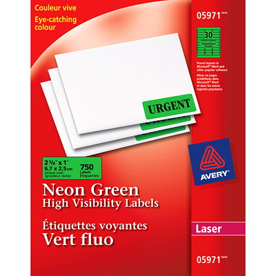 "Avery 5971 High-Visibility Rectangular Laser Labels, Neon Green, 2 5/8"" x 1"", 30 Labels/Sheet, 25 Sheets/PK 750LABELS/ENVELOPE"