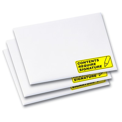 "Avery 5972 High-Visibility Rectangular Laser Labels, Neon Yellow, 2 5/8"" x 1"", 30 Labels/Sheet, 25 Sheets/PK 750LABELS/ENVELOPE"
