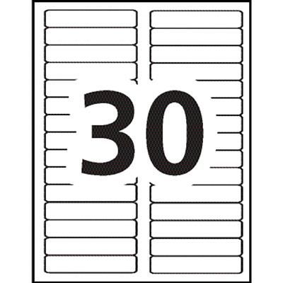 """Avery 5066 Filing Labels With TrueBlock Technology, White with Red Top Bar, 3 7/16"""" x 2/3"""", 30 Labels/Sheet, 20 Sheets/PK 3-7/16X2/3 30 LABELS/SHEET COLOUR BAR AVERY 20 SHEETS/PK"""