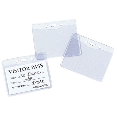 "Avery Heavy Duty Flexible Secure Top Horizontal Name Badge Holders, Clear, 3"" x 4"", 25/PK HORIZONTAL VINYL TOP LOAD"