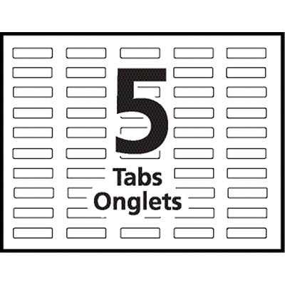 """Avery Print & Apply Dividers with Easy Apply Labels, White Dividers/Tabs with Clear Labels, 8 1/2"""" x 11"""", 5-Tabs/ST, 25-Sets/BX (25 SETS/BOX) AVERY 3 CLEAR LABEL SHEETS  20% PCW"""