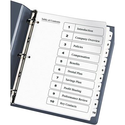 Avery Ready Index Customizable Table of Contents Dividers, Black and White, Numbered (1-10), Letter-Size, 10 Tabs/ST, 1 Set/PK CONTENTS BLACK AND WHITE 1-10 30% PCW