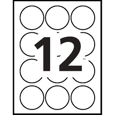 """Avery 22807 Print-to-the-Edge Permanent Round Labels, Glossy White, 2"""" Diameter, 12 Labels/Sheet, 10 Sheets/PK GLOSSY WHITE  2"""" DIA. LASER/INK JET  120 LBLS/PKG"""