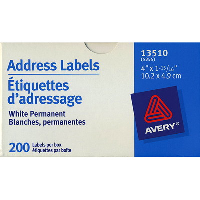 Avery White Multi-Purpose Mailing Address Labels ROLL FORM NON-PEFERATED AVERY