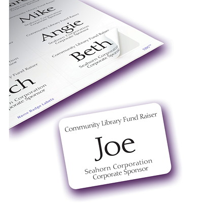 "Avery 5395 Flexible Self-Adhesive Name Badge Labels, Matte White, 2 1/3"" x 3 3/8"", 8 Labels/Sheet, 50 Sheets/BX SELF-ADHESIVE FOR LASER PRINTR 50 SHEETS 400 LABELS AVERY"