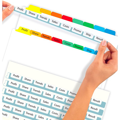Avery Print & Apply Dividers With Easy Apply Labels, White With Multi-Coloured Tabs/Clear Labels, Letter-Size, 8-Tabs/ST, 5-Sets/PK 5 ST/PACK 30% PCW