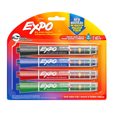 Expo Dry-Erase Chisel-Tip Markers with Ink Indicator CHISEL TIP