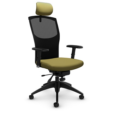 Global Alero High-Back Mesh Knee-Tilter Chair with Headrest