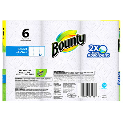 Bounty Select-A-Size White Paper Towels  SELECT-A-SIZE  WHITE